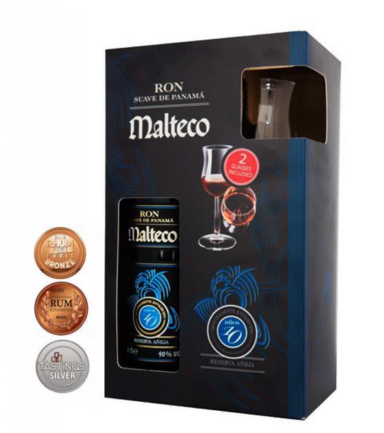 coffret malteco 10 ans avec deux verres
